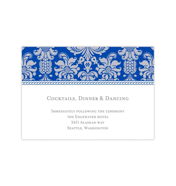 Wedding Reception Invitations Damask Cobalt Blue Gray Printable Templates