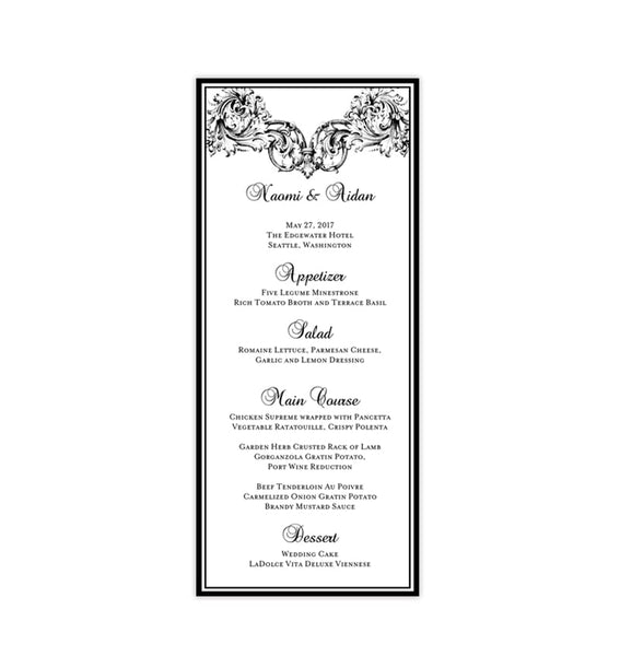 Wedding Menu Card Vienna Black Tea Length Printable DIY Templates