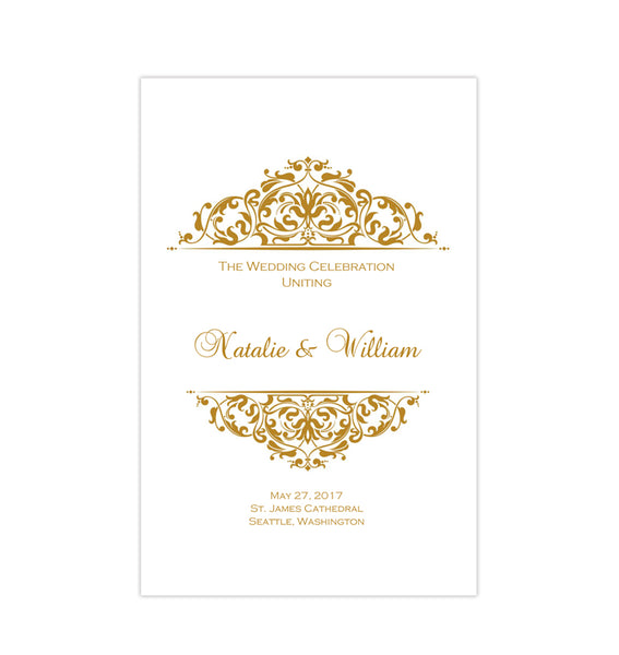 Wedding Program Template Grace Gold Printable DIY