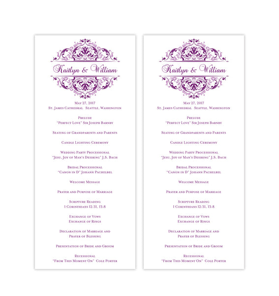 Slim Wedding Program Grace Plum Purple Lavender Printable DIY TeaLength