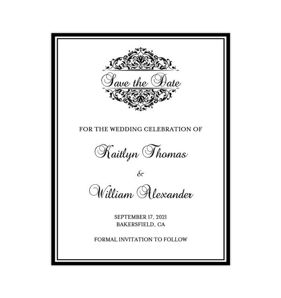 Wedding Save the Date Cards Grace Black Printable DIY Templates