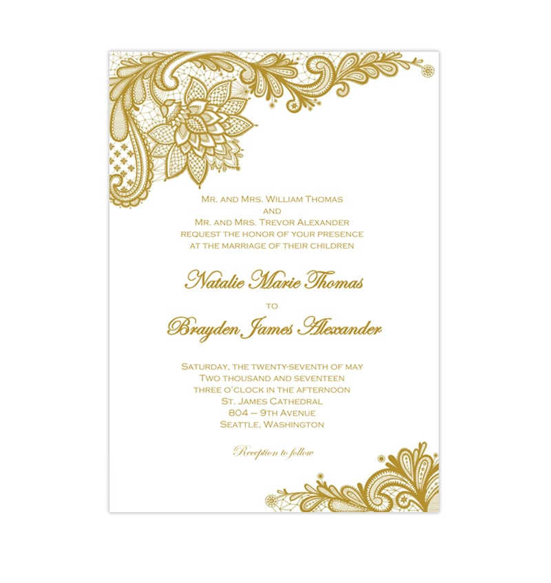 picture relating to Printable Wedding Cards known as Gold Classic Lace Wedding ceremony Invites Do-it-yourself Printable Templates