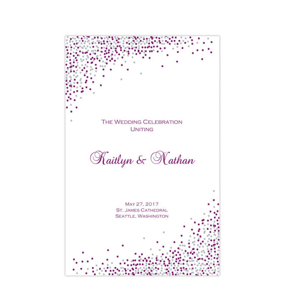 Wedding Program Template Confetti Plum Silver Printable DIY