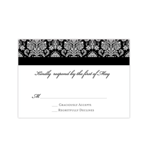 Wedding Response Cards Damask Black White Printable DIY Templates