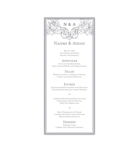 Wedding Menu Card Vienna Gray Tea Length Printable DIY Templates