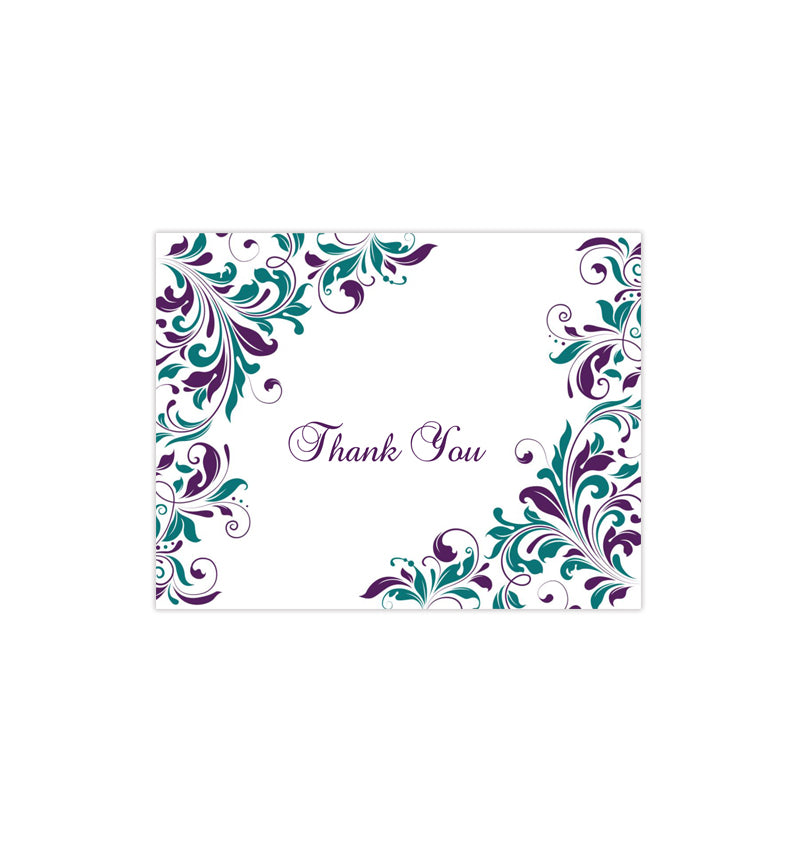 Wedding Thank You Card Kaitlyn Peacock Purple And Teal