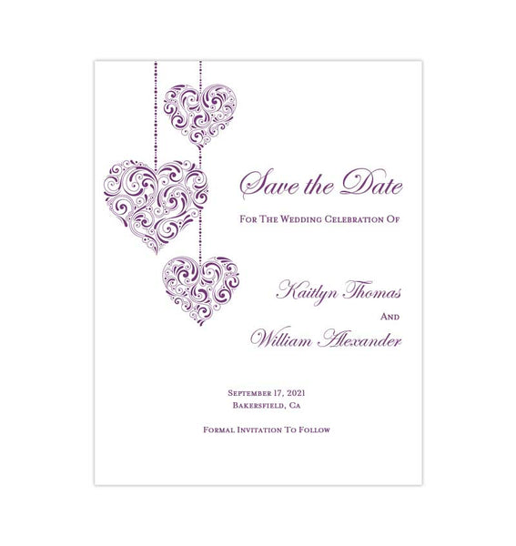 Wedding Save the Date Cards Hearts Purple Printable DIY Template