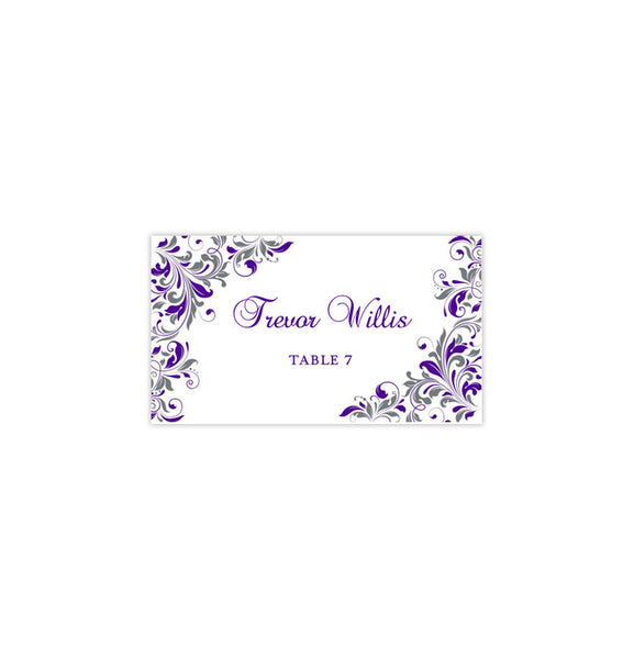 Printable Wedding Place Cards Kaitlyn Purple Gray Flat Printable DIY Seating