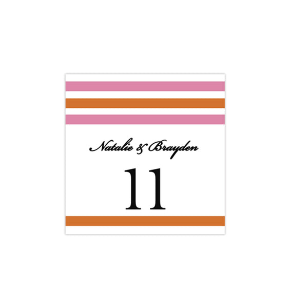Printable Table Number Template Simply Stripes Pink Orange Tent dIY WEdding
