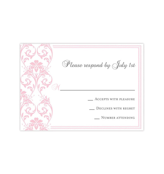 Wedding Response Cards Damask Blush Pink Printable DIY Templates