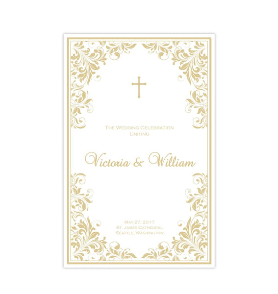 Catholic Church Wedding Program Kaitlyn Champagne Printable DIY