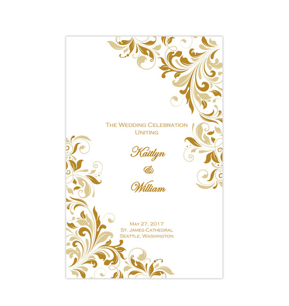 Catholic Church Wedding Program Kaitlyn Gold Champagne Printable DIY