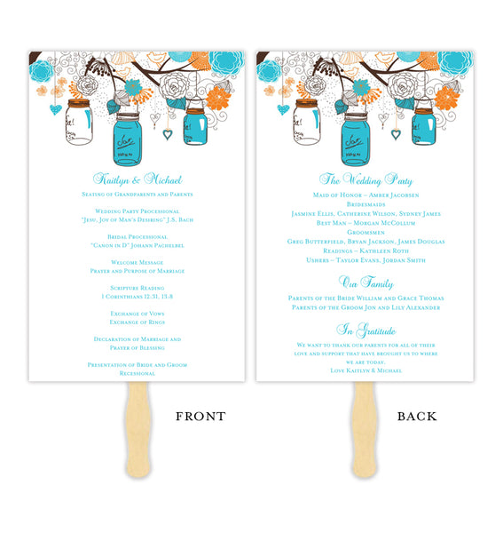 Wedding Programs Fan Rustic Mason Jars Turquoise Ocean Blue Orange Printable DIY Templates