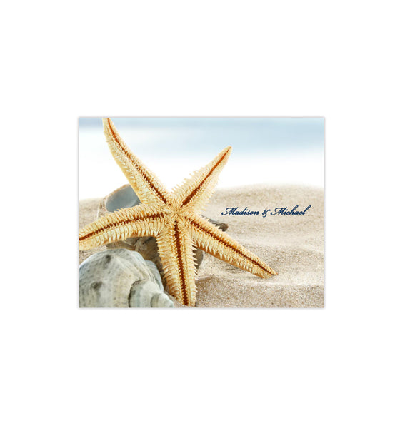 Wedding Thank You Card Beach Starfish Printable DIY Template