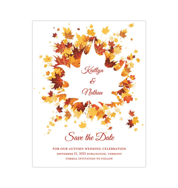 Wedding Save the Date Cards Falling Leaves Autumn Printable DIY