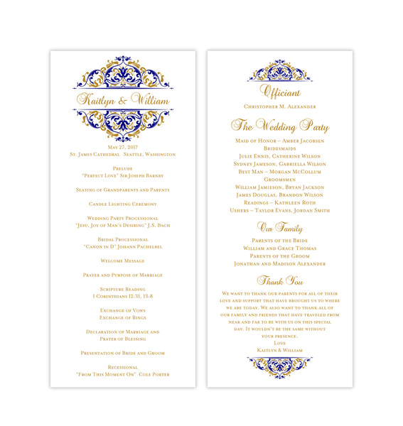 Slim Wedding Program Grace Navy Blue Gold Printable DIY TeaLength