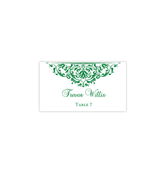 Printable Wedding Place Cards Grace Emerald Green Flat DIY Template