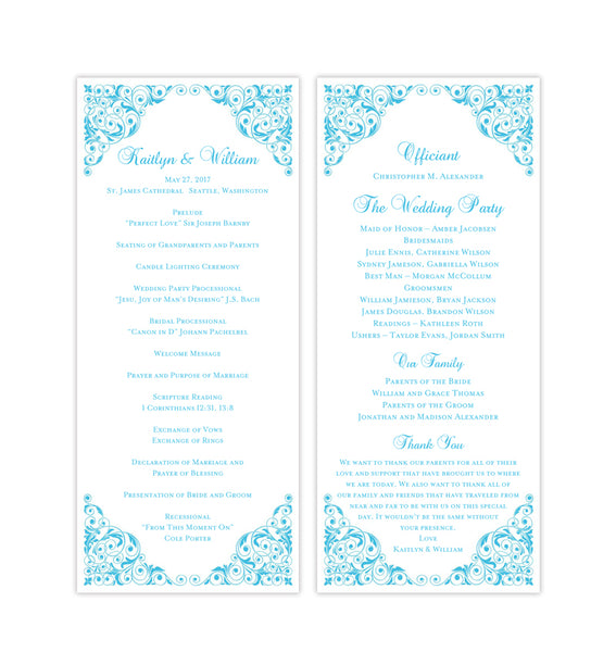 Slim Wedding Program Isabella Malibu Blue Printable DIY Templates