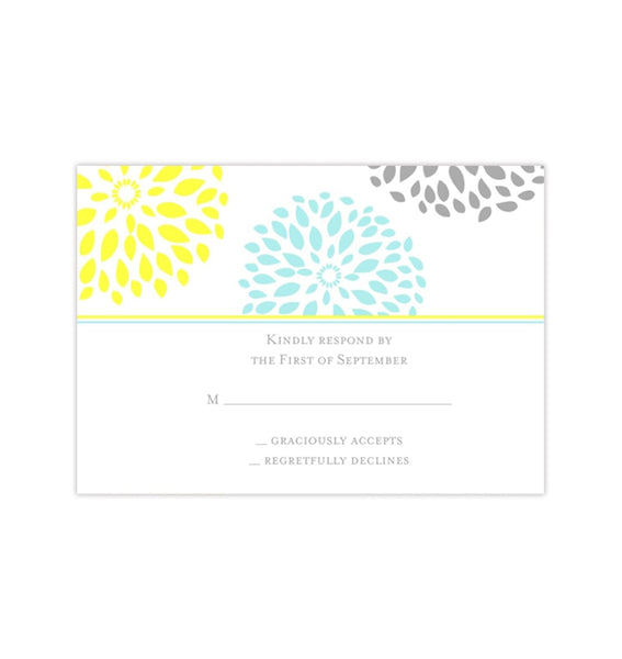 Wedding Response Cards Floral Petals Turquoise Yellow Gray Printable DIY Templates
