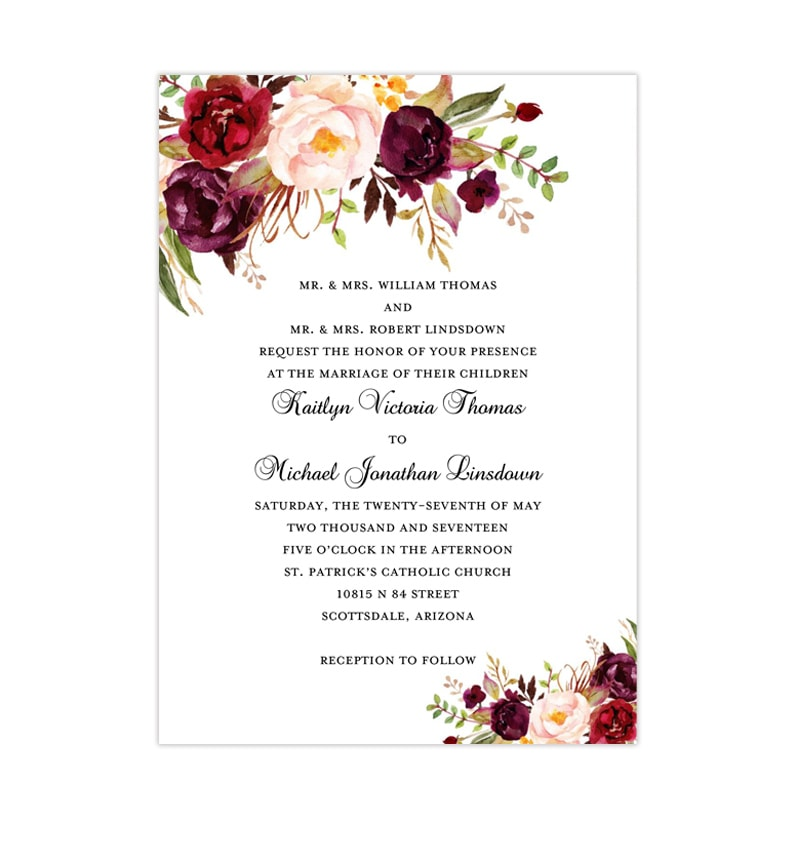 Wedding Invitation Template.Printable Wedding Invitation Romantic Blossoms Burgundy Red Blush Pink Marsala