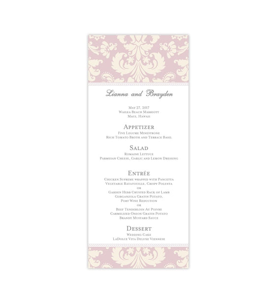 Wedding Menu Card Damask Blush Pink Ivory Tea Length Printable DIY Templates