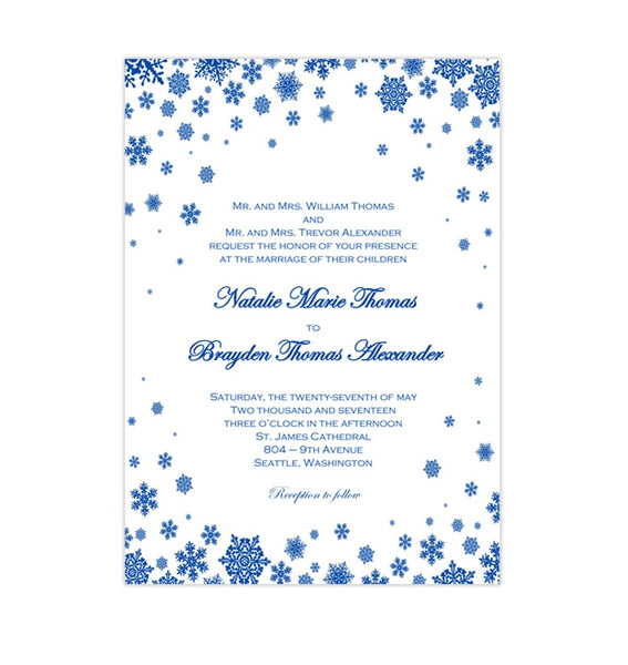 Snowflake Wedding Invitation Cobalt Blue Printable DIY Template