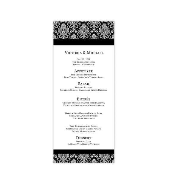 Wedding Menu Card Damask Black Tea Length Printable DIY Template