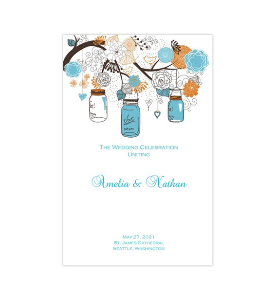 Wedding Program Template Rustic Mason Jars Blue Orange Printable DIY