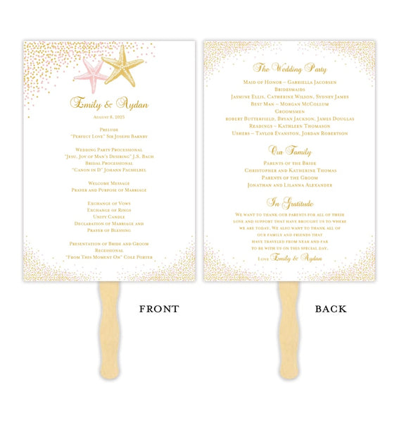 Wedding Program Fan Confetti Starfish Blush Pink Gold Printable DIY Template