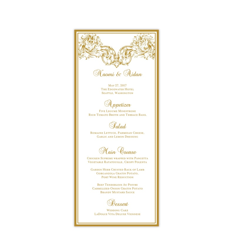 picture about Printable Wedding Menus called Marriage Menu Card Vienna Gold Tea Period