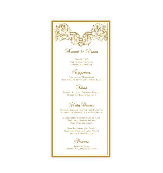 Wedding Menu Card Vienna Gold Tea Length Printable DIY Templates