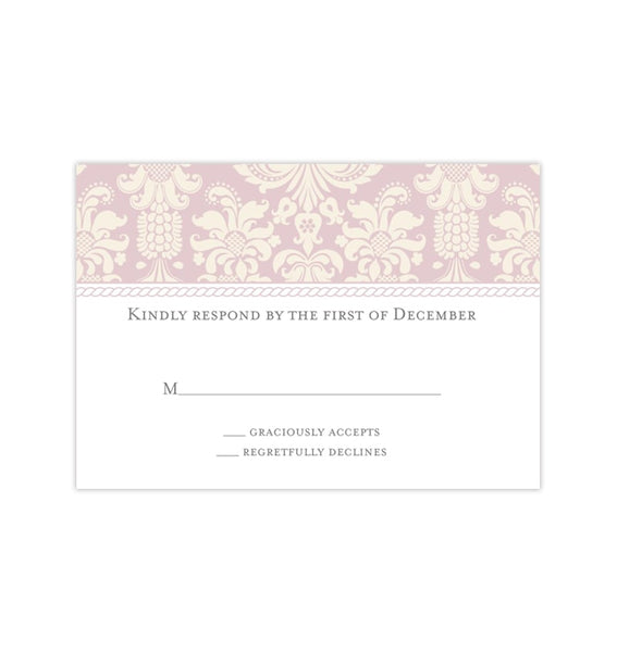 Wedding Response Cards Damask Blush Pink Ivory Printable DIY Templates