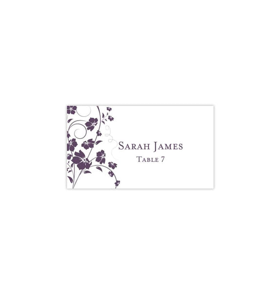 Wedding Seating Card Madison Purple Plum Tent Printable DIY Place
