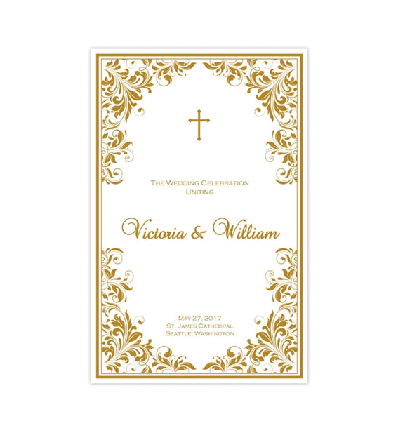 Catholic Church Wedding Program Kaitlyn Gold Printable DIY