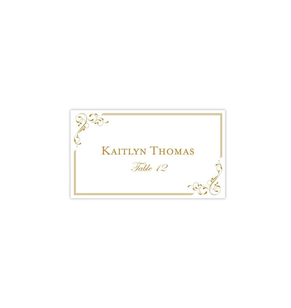 Wedding Seating Card Elegance Gold Tent Printable DIY Place Templates