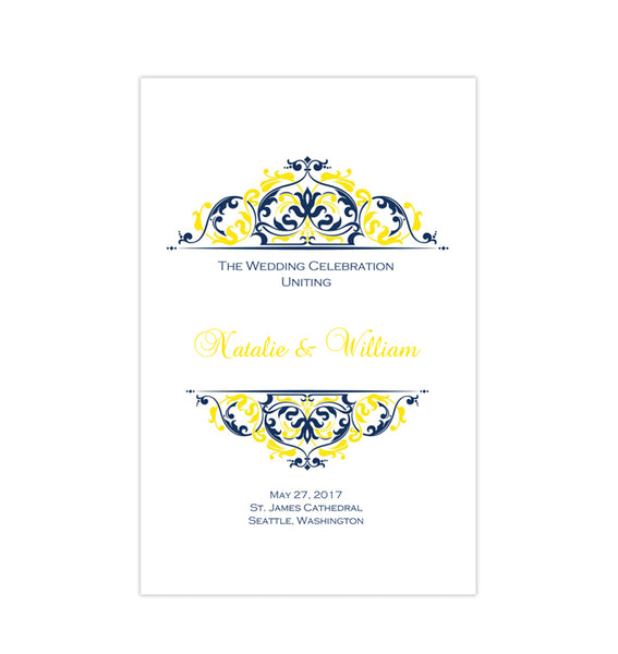 Wedding Program Template Grace Navy Blue Yellow Printable DIY