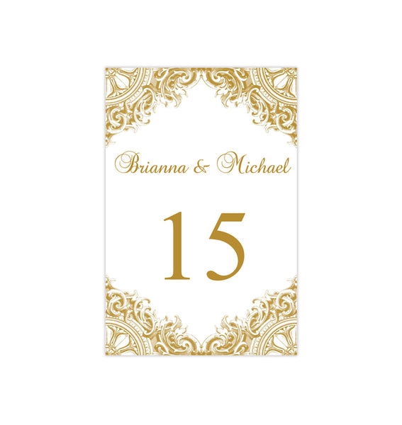 Wedding Table Number Template Vintage Gold Flat Printable DIY