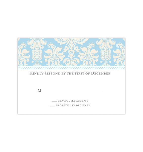 Wedding Response Cards Damask Capri Blue Champagne Printable DIY Templates