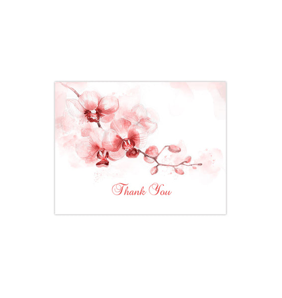 Wedding Thank You Card Orchid Coral Orange Printable DIY Templates
