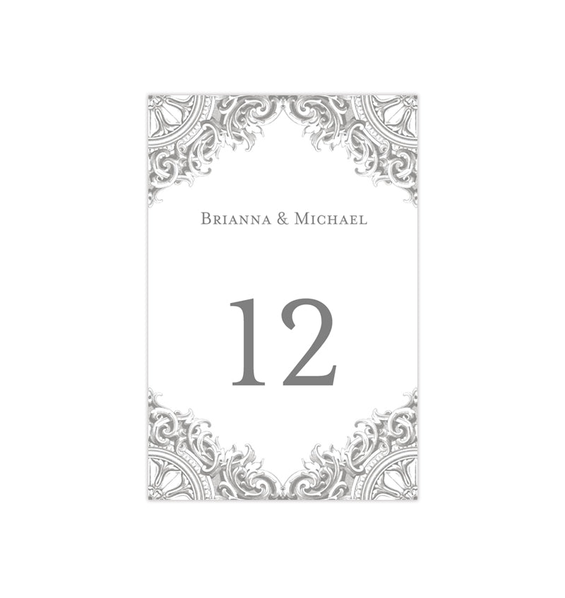 Wedding Table Number Template Vintage Gray Silver Flat