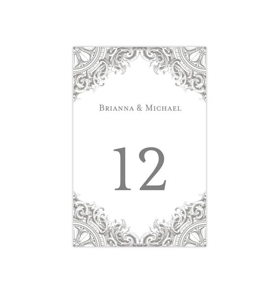 Wedding Table Number Template Vintage Gray Silver Flat Printable DIY