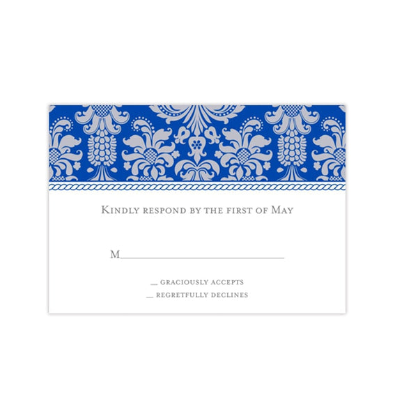 Wedding Response Cards Damask Cobalt Blue Gray Printable DIY Templates