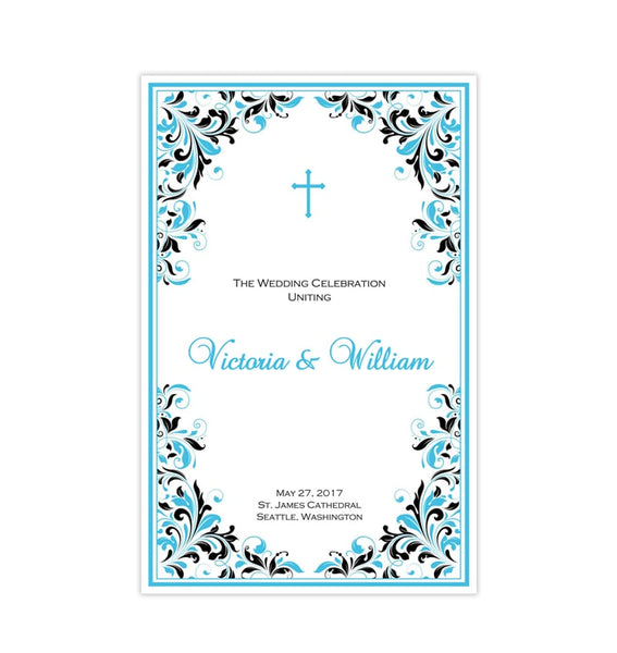 Catholic Church Wedding Program Kaitlyn Malibu Blue Black Printable DIY