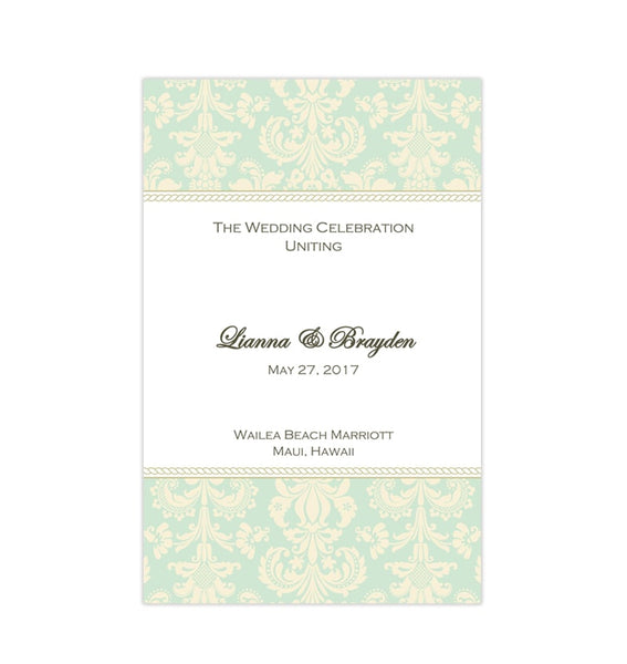 Wedding Program Template Damask Mint Champagne Printable DIY