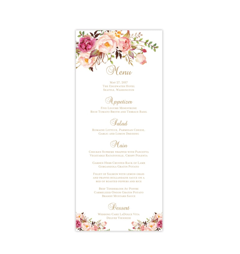 Wedding Menu Template.Wedding Menu Card Romantic Blossoms Tea Length Printable Diy