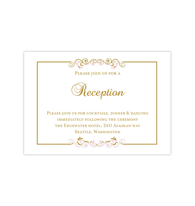 Wedding Reception Invitations Madelyn Pink Gold Wedding Template