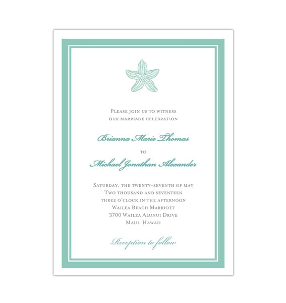 Beach Starfish Wedding Invitation Seafoam Green