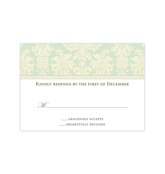 Wedding Response Cards Damask Mint Green Champagne Printable DIY Templates