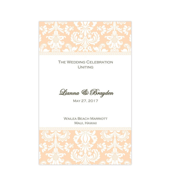 Wedding Program Template Damask Peach Printable DIY