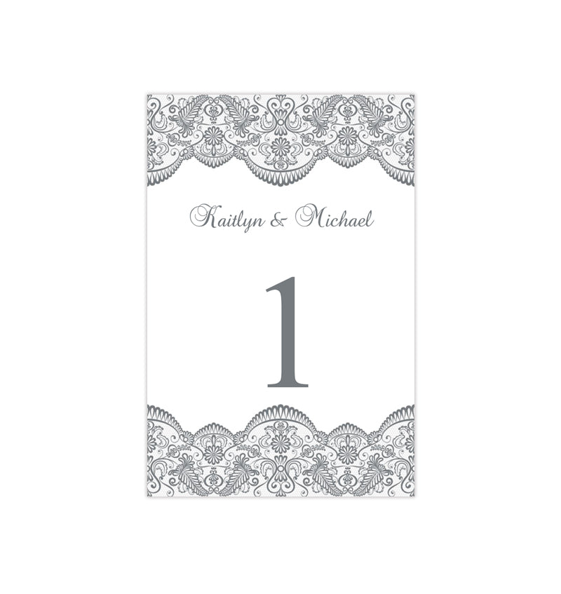 wedding table number template vintage lace medium gray flat